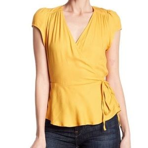 Love Fire Golden Yellow Side Tie Wrap Top Large